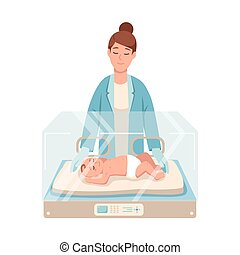 Premature newborn infant lies inside neonatal intensive care unit, female doctor or pediatric nurse stands beside it and checks. Baby nursery. Colorful vector illustration in flat cartoon style.