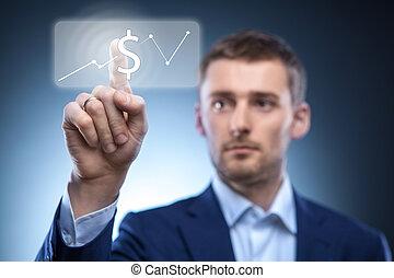 premere, bottone, dollaro, uomo affari