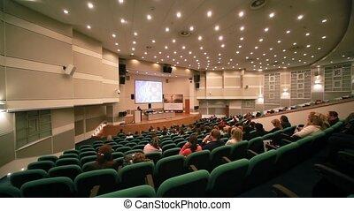 première, conférence, spectateurs, salle, collection, assied, cpm