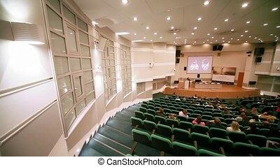 première, gens, couloir conférence, collection, assied, cpm