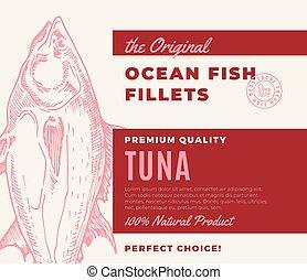 premia, label., fillets., fish, nowoczesny, typografia, abstrakcyjny, ręka, pakowanie, wektor, projektować, tło, pociągnięty, sylwetka, tuńczyk, jakość, albo, układ