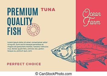 premia, label., fish, abstrakcyjny, nowoczesny, typografia, ręka, pakowanie, tuna., wektor, projektować, tło, pociągnięty, sylwetka, tuńczyk, jakość, albo, układ