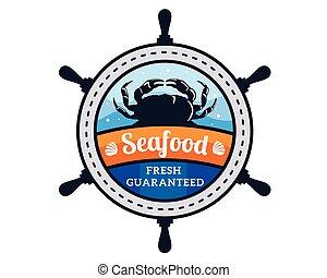 premia, restauracja, produkty morza, nowoczesny, ilustracja, logo, odznaka