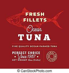 premia, tuńczyk, sylwetka, abstrakcyjny, filety, typografia, etykieta, pakowanie, wektor, projektować, retro, tło, świeży, ręka, pociągnięty, brzegi, layout., jakość, fish