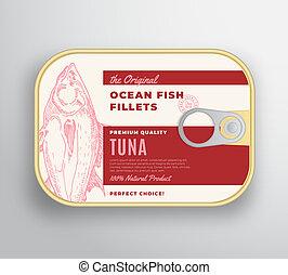 premia, w puszkach, aluminium, wektor, kontener, abstrakcyjny, filety, typografia, sylwetka, etykieta, pakowanie, cover., ocean, retro, tło, layout., pociągnięty, tuńczyk, ręka, fish, design.