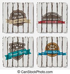 premie, etiketten, hout, achtergrond, oud, kwaliteit