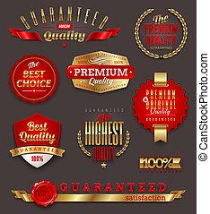 premie, etiketten, kwaliteit, gouden