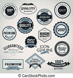 premie, etiketten, set, kwaliteit