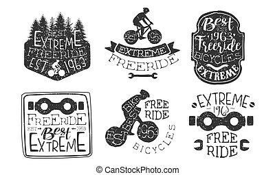 premie, getrokken, set, etiketten, illustratie, hand, freeride, vector, retro, monochroom, fiets, sportende, kentekens, extreem