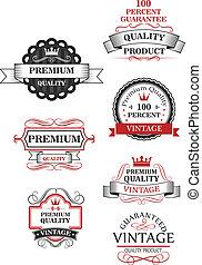 premie, kwaliteit, verzameling, etiket