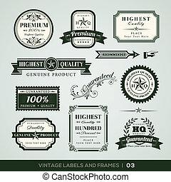 premie, ouderwetse , etiketten, lijstjes, kwaliteit, borg staan voor