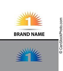 premier, 1, conception, logo, icône