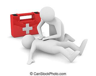 premier, aid., artificiel, breath., isolé, 3d, image
