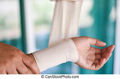 premier, blessure, /, main, bander, santé, aide, médecine, poignet, infirmière, blessure, bras, soin