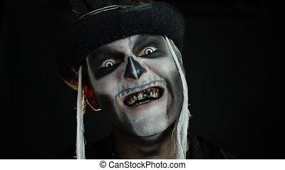 premier-chapeau, noir, figure, apparaître, halloween, ...