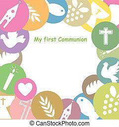 premier, communion, invitation, carte