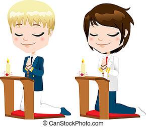premier, communion, prière, garçons