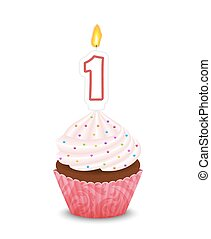 premier, forme, bougie anniversaire, petit gâteau
