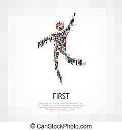 premier, gens, signe, 3d