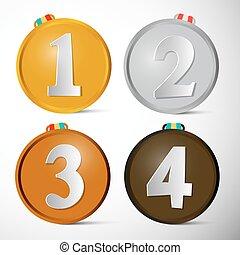 premier, illustration., troisième, set., vecteur, endroit, quatrième, seconde, récompenses, médailles
