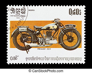 mail stamp printed in Kampuchea featuring a vintage Premier motorcycle