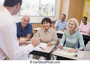 premier plan, étudiants, images, classe, dessin, adulte, focus), (selective, prof
