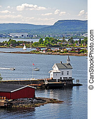 premier plan, church., vue, norvège, oslofjord