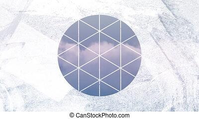 premier plan, circulaire, blanc, gonflé, par, nuages, formé