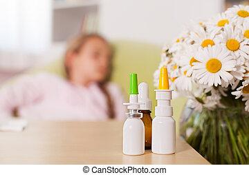 premier plan, concept, bouteilles, saison, allergie, personne, médicament, arrière plan flou