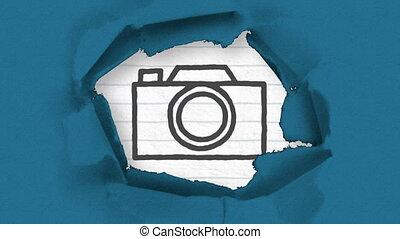 premier plan, déchiré, animation, icône, bleu, marqueur, papier, dessiné, noir, esquissé, appareil photo