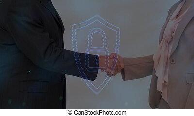 premier plan, numérique, cadenas, poignée main
