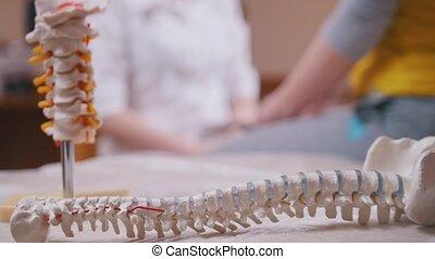 premier plan, patient, frapper, docteur, dos, neurologue, bras, soigneusement, examine, modèle, marteau