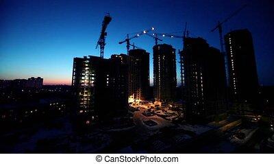 premier plan, secteur, ouvriers, site, dortoir, construction...