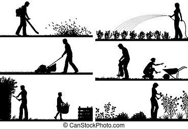 premier plan, silhouettes, jardinage