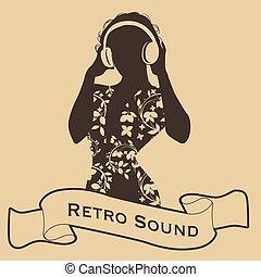 premier plan, style, femme, dj, écouteurs, retro, silhouette, ruban