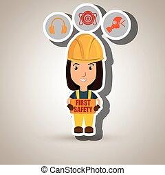 premier, sécurité, ouvrier, icône
