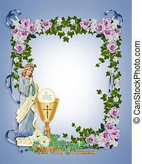 premier, saint, communion, invitation