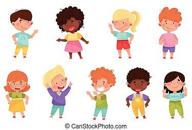 premier, vecteur, doigt, gosse, pointage, quelque chose, leur, ensemble, caractères, illustration