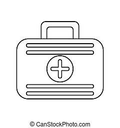 premiers secours, cas, urgence médicale, ligne mince