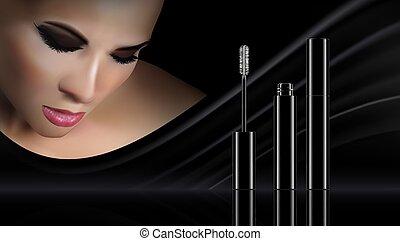 premio, bellezza, serie, astratto, cosmetica, sagoma, advertising., mascara