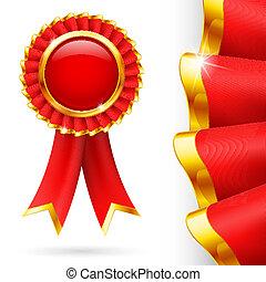 premio, cinta, rojo