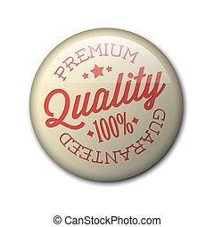 premio, distintivo, vettore, qualità, retro