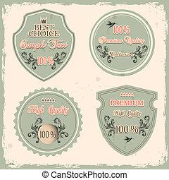premio, etichette, set, qualità