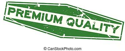premio, francobollo, gomma, sfondo verde, sigillo, grunge, bianco, esagono, qualità