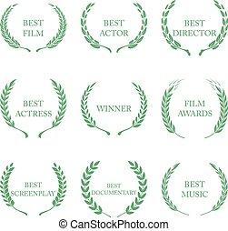 premio, ghirlande, fondo, bianco, premi, film