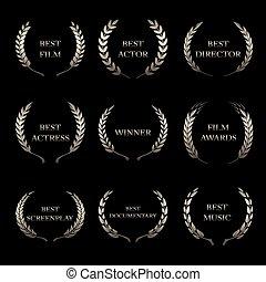 premio, ghirlande, sfondo nero, premi, film