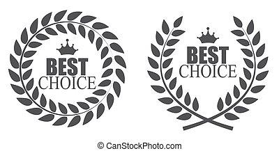 premio, guirnalda laurel, mejor, opción, etiqueta, vector, ilustración