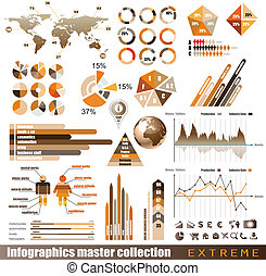 premio, histograms, elements., icone, globo, grafici, grafico, disegno, frecce, lotto, infographics, maestro, collection:, relativo, 3d