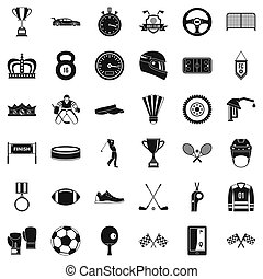 premio, iconos, conjunto, simple, estilo