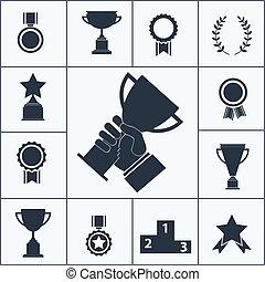 premio, iconos, trofeo, conjunto